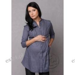 Koszula ciążowa Edda - szaro/niebieska