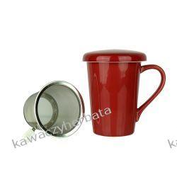 Kubek ceramiczny z zap.metalowym 350 ML czerwony Wyposażenie