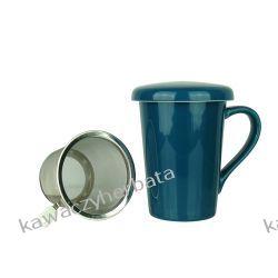 Kubek ceramiczny z zap.metalowym 350 ML niebieski Wyposażenie