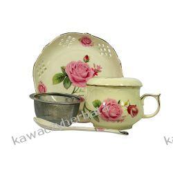 Kubek porcelanowy z zap.łyżeczka talerzyk Kawiarki