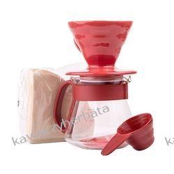 Hario zestaw V60 Dripper & Pot Red - drip + serwer + filtry Kawy ziarniste