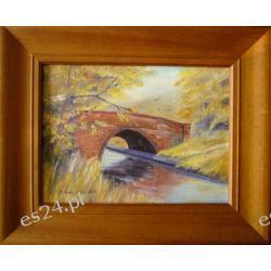 Obraz olejny płótnie OPRAWIONY 28x34cm MOSTEK NAD STRUMYKIEM
