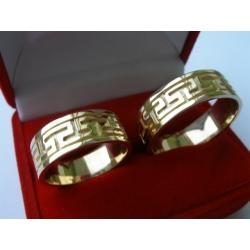 Obrączki złote z greckim wzorem