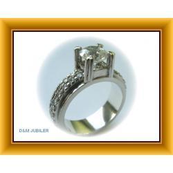 Pierścionek  ze srebra z cyrkoniami - ręcznie robiony dla konesera