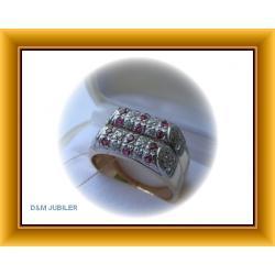 Pierścionek z rubinami i cyrkoniami ze złota 0,585