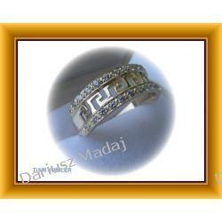 Złoty pierścionek z greckim wzorem i cyrkoniami