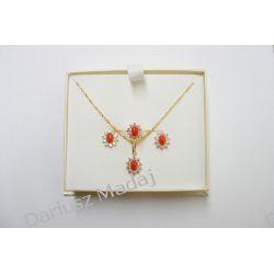 Zestaw biżuterii złotej z koralem i cyrkoniami