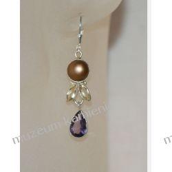Kolczyki z ametystu, cyrkonu i perły w srebrze Ozdobne zawieszki