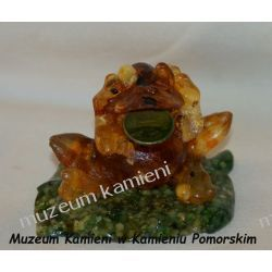 Żaba z bursztynu na pomyślność FBUR11 Wisiorki
