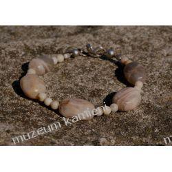 Bransoleta z kamienia księżycowego z kuleczkami jaspisowymi Wisiorki