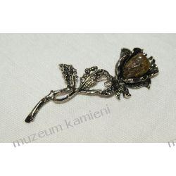 Piękna brosza z bursztynu - róża Wisiorki