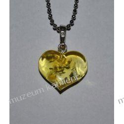 Piękne serce z bursztynu w srebrze BUR04 Wisiorki