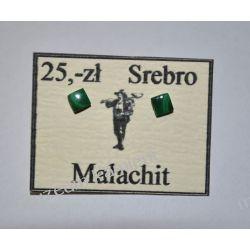 Piękne kolczyki z malachitu w srebrze KWK082 Na rękę