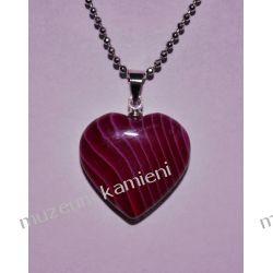 Agat piękny wisior w kształcie serca W070 Naszyjniki