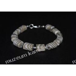 Piękna bransoleta z krzemienia pasiastego w srebrze B115 Figurki i rzeźby