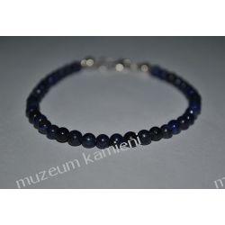 Piękna bransoletka z lapis lazuli w srebrze B61 minerały