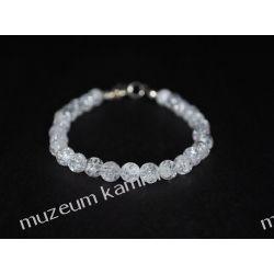 Kryształ górski - piękna bransoletka w srebrze B175 - nieduże kulki - 19,2 cm Biżuteria i Zegarki