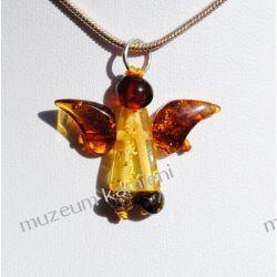 Piękny bursztyn w srebrze - aniołek WA082 Biżuteria i Zegarki