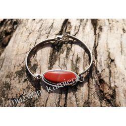 Piękna bransoleta z jaspisu w srebrze B217  Kolczyki