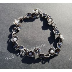 Przepiękna bransoleta z pereł w srebrze B147 - 20,8 cm Biżuteria i Zegarki