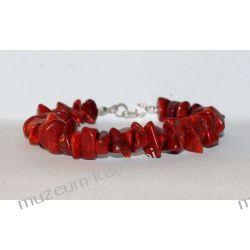 Piękny koral w srebrze - bransoleta B167 - 20,2 cm Biżuteria i Zegarki