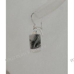 Kolczyki - kwarc z wrostkami turmalinu w srebrze KW039 Na rękę