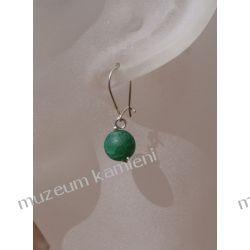 Kolczyki - fasetowana kulka zielonego agatu w srebrze KW093 Naszyjniki