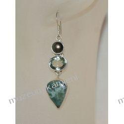 Kolczyki z agatu, topazu i perły w srebrze KW063 Pozostałe