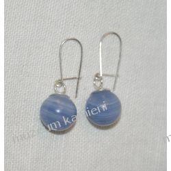 Kolczyki w srebrze z niebieskiego agatu KW047 Pozostałe