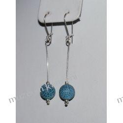 Kolczyki z agatu niebieskiego w srebrze KW008 Biżuteria i Zegarki