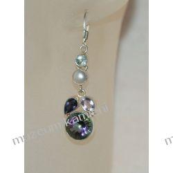 Kolczyki w srebrze: topaz mystic, perła, ametyst, akwamaryn KW061 Kolczyki