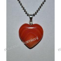 Piękny wisior w kształcie serca z agatu W082 Biżuteria i Zegarki