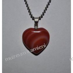 Agat piękny wisior w kształcie serca W089 Naszyjniki