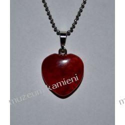 Agat piękny wisior w kształcie serca W085 Kolczyki