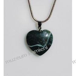 Agat zielony wisior w kształcie serca WSER05 Biżuteria i Zegarki