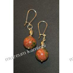 Unakit kulki kolczyki w srebrze KW091 Biżuteria i Zegarki