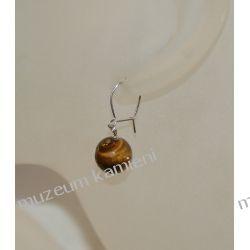 Kolczyki z tygrysiego oczka w srebrze KW045 Naszyjniki