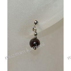 Granat w srebrze - kolczyki malutka kuleczka KWK065 Na rękę
