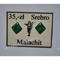 Wyjątkowe kolczyki z malachitu w srebrze KWK083 Naszyjniki