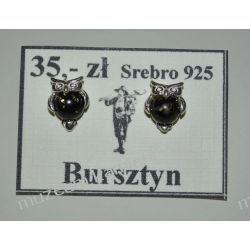 Sowy - srebrne kolczyki z bursztynu KWK081