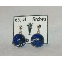 Kolczyki z lapis lazuli w srebrze KWK010 skamieliny