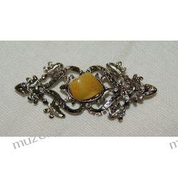 Piękna broszka z bursztynem Biżuteria i Zegarki