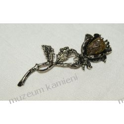 Piękna broszka z bursztynem - róża skamieliny