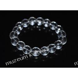 Piękny, fasetowany kryształ górski - bransoletka na gumce BB28 skamieliny
