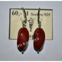 Piękne kolczyki z jaspisu czerwonego w srebrze KW151 Biżuteria i Zegarki