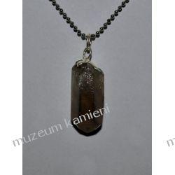 Piękny, nieszlifowany wisior z kwarcu dymnego w srebrze WA172 minerały