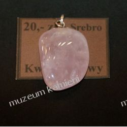Wisior z kwarcu różowego w srebrze WA098 Biżuteria i Zegarki