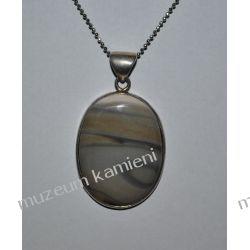 Piękny wisior z krzemienia pasiastego w srebrze WA135 Biżuteria i Zegarki