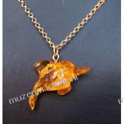 Piękny bursztyn w srebrze - delfinek BUR06 Biżuteria i Zegarki