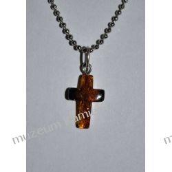 Krzyżyk - piękny bursztyn w srebrze WA072 Biżuteria i Zegarki